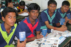 Young students in Chennai display their new copies of God's Word. © 2014 The Gideons International.