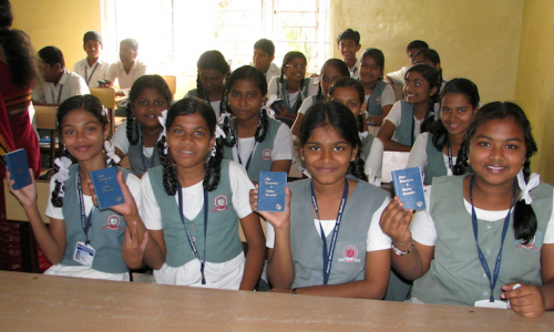A group of students in India, blessed to receive their own copies of God's Word. © 2014 The Gideons International.