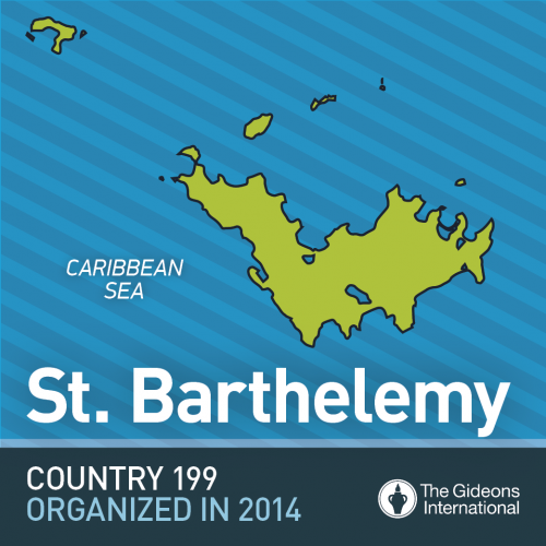 St. Barthelemy Gideons ministry map image Christian