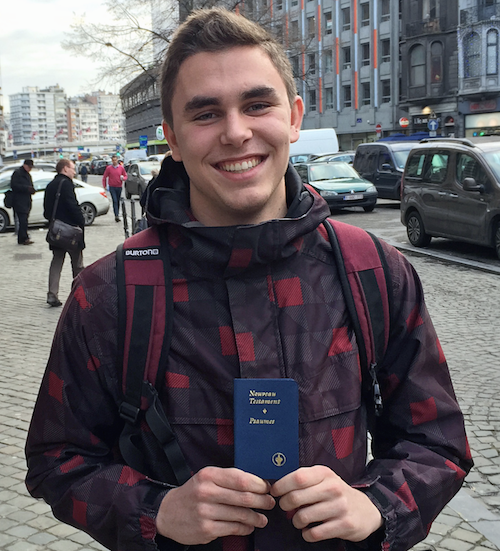 A Student Is Happy To Receive A New Testament From Gideons Distributing Copies Of Gods Word