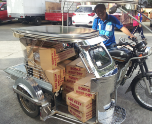 motorcycle sidecar with New Testaments Tagalog language Philippines