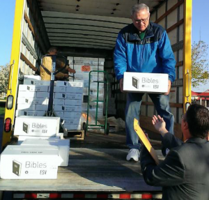 Gideons in Cincinnati unload boxes of Scriptures as they prepare for the Scripture blitz